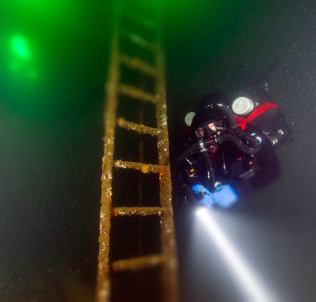 diver with ladder