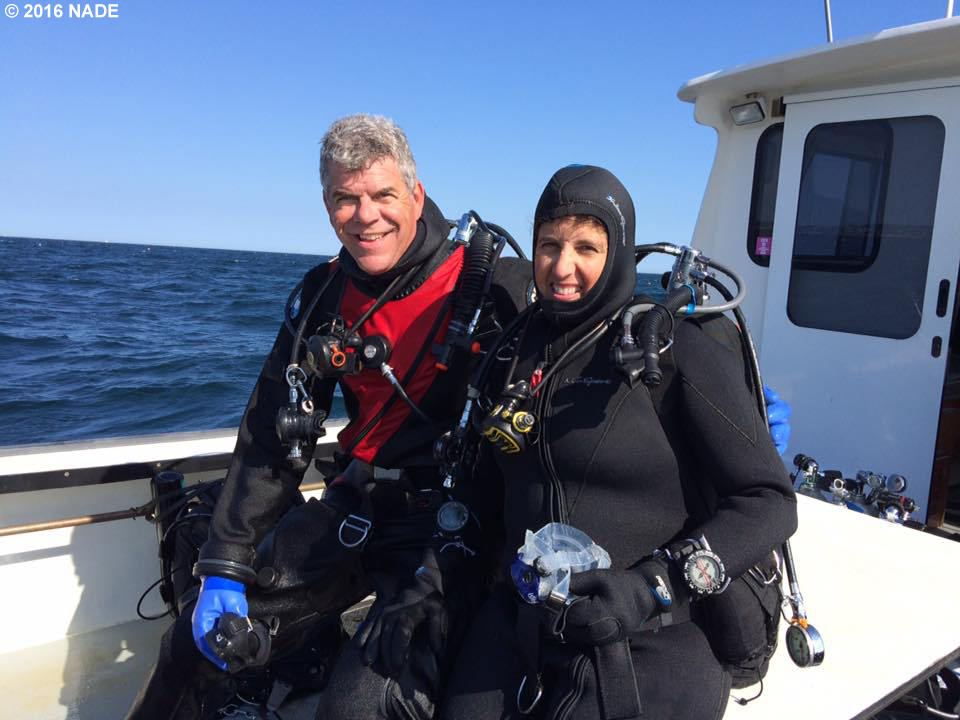 Dave and Linda after completing AOW dives to complete her NAUI certification.